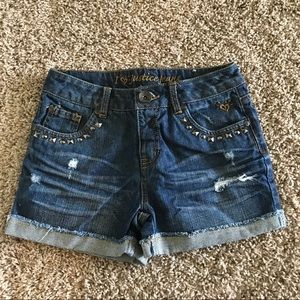 Girls size 12S Justice distressed jean shorts